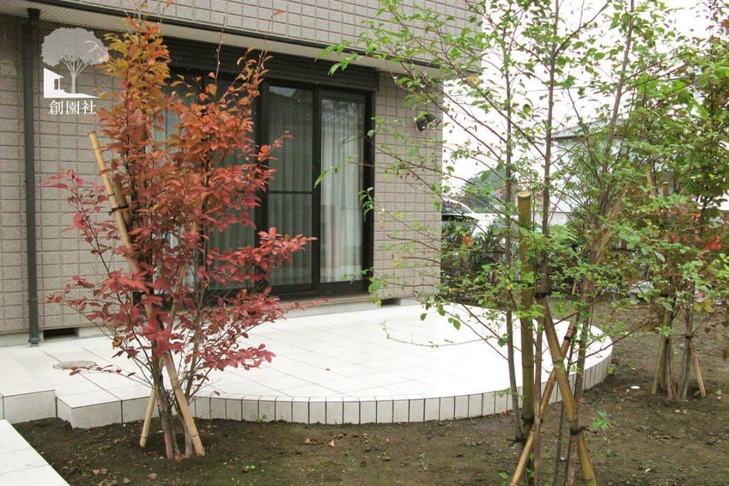 藤岡市 タイルテラス 植栽