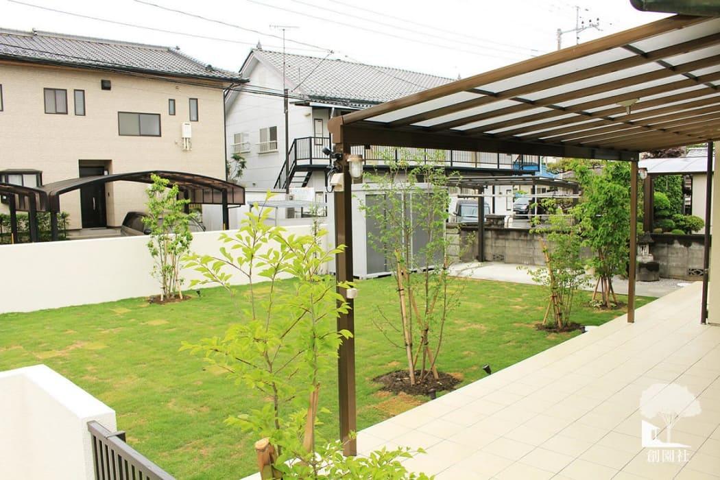 藤岡市 タイルデッキ テラス屋根 芝生