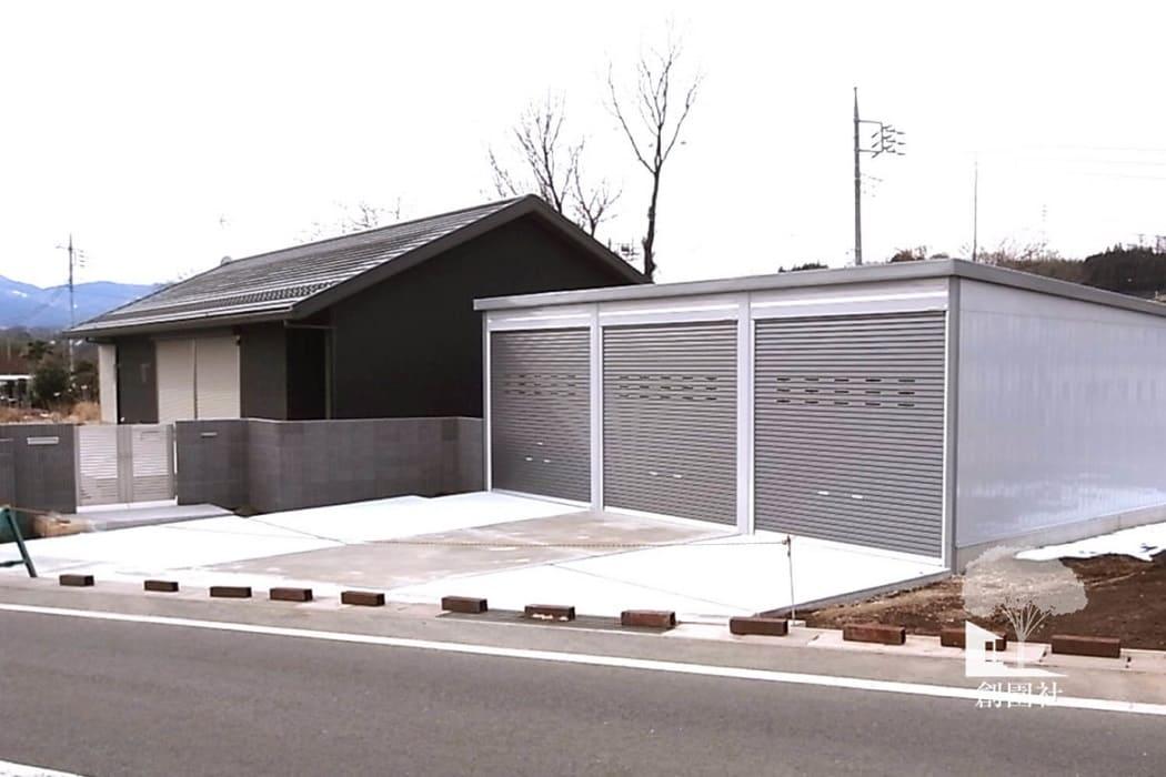 沼田市 新築外構 シャッター車庫