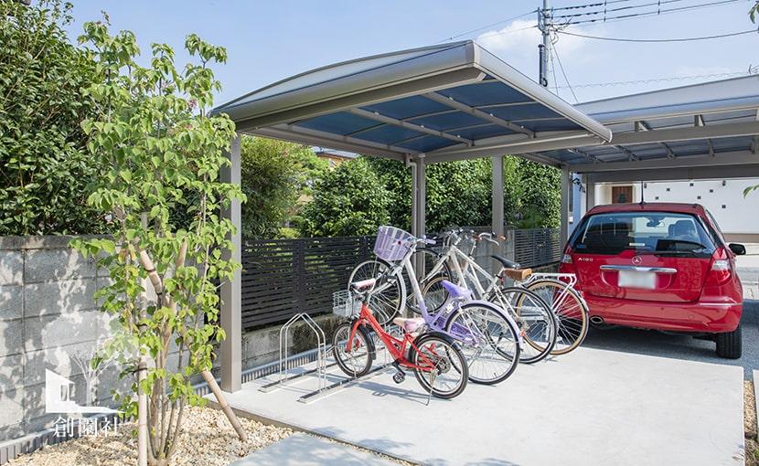 群馬県高崎市 新築外構 サイクルポート